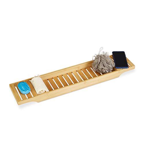 Relaxdays 10020320 Mensola per Vasca da Bagno, bambù, Marrone Chiaro, 14.5 x 68.5 x 4.5 cm