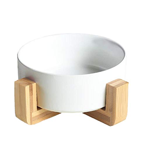 QFULL Ceramic Round Dog Cat Bowl - Durable Ceramic Food Water Elevated Dish for Pet,with Wood...