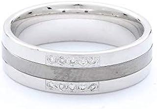 Breuning 18K White/Black Shiny & Matte Finish 0.075ct Round cut Diamond Wedding Ring [BR6139]