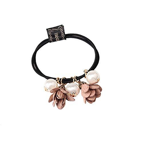 Empty Big Pearl Flower Scrunchies Elastische haarbanden voor vrouwen meisjes schattige paardenstaarthouder haaraccessoires