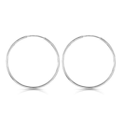 Amberta® 925 Sterling Silber Edle Ringe Mit Geschlossener Ring – Kleine Runde Kreolen Ohrringe - Durchmesser: 20 30 40 60 80 mm (40mm)