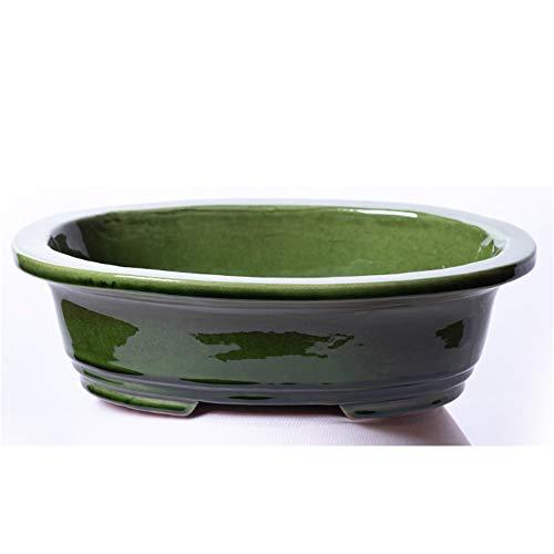 Alfareros Damian Canovas Maceta para Bonsai DE Barro Y ESMALTADA EN Color Verde.Mod. Osaka. Medidas 25X20X7CM.con TU Compra TE REGALAMOS EL Plato.