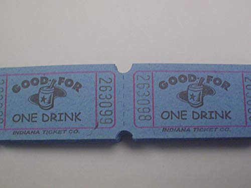 500 Blue Good For One Drink Consecutively Numbered Raffle Tickets