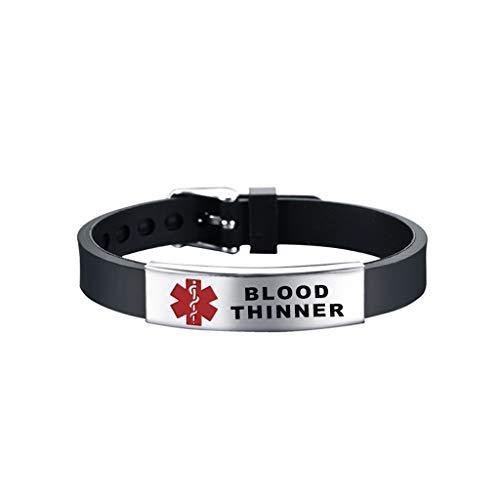 lijun Red Medical- Alert ID Bracelet Emergency First Aid Silicone Wristband Unisex