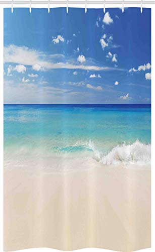 ABAKUHAUS Tropisch Schmaler Duschvorhang, Shore Meer mit Wellen, Badezimmer Deko Set aus Stoff mit Haken, 120 x 180 cm, Türkis Creme