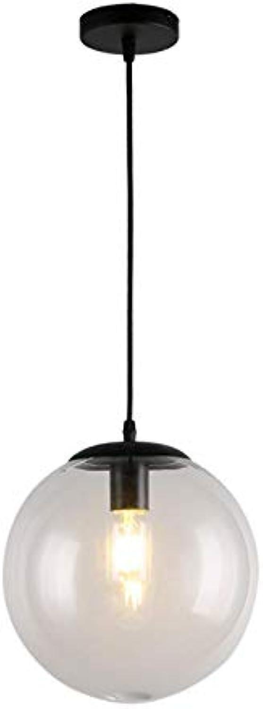 Nordic transparent glass spherical chandelier restaurant balcony hallway office LOFT American industrial wind lamps, schwarz 15cm Weiß light bulb with LED