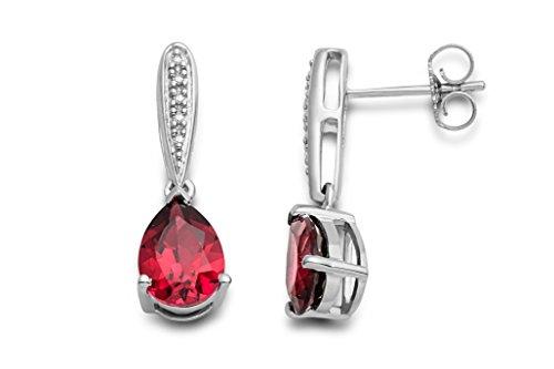 Pendientes Miore para mujer en plata de ley 925 con rubí rojo y diamantes naturales.