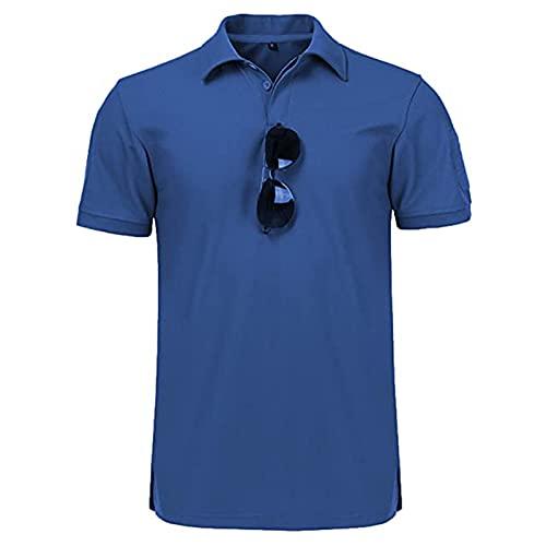 Camiseta táctica para hombre Polo Cool y de secado rápido absorbente de sudor color block manga corta deportes golf tenis camiseta, azul, XL