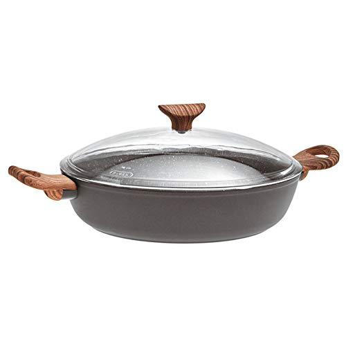 Sambonet pan met 2 handgrepen en deksel, anti-aanbaklaag, zwart, 28 cm
