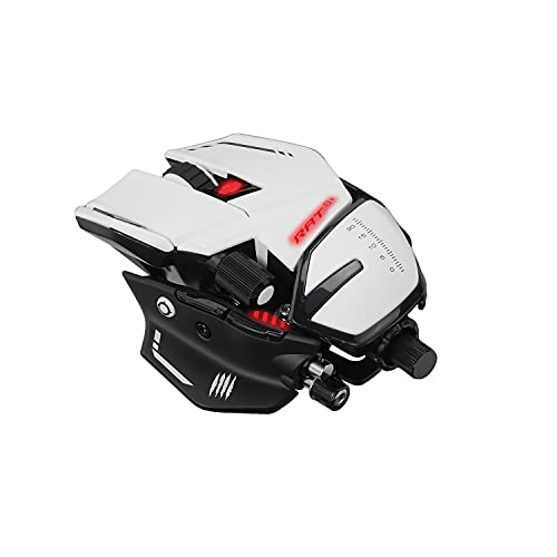 Mad Catz The Authentic R.A.T. 8+ Fully Adjustable Wired Gaming Mouse - 16000 DPI Optical Sensor - 11 Programmable Buttons and RGB Lighting - White