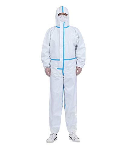 Disposable Coverall Suit Coveralls Full Body Protective Suits Isolation Suit with Hood Elastic Wrist Protective Clothing Dust-proof(M,170)