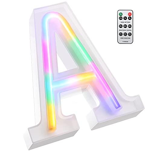 Luces LED de Letras Coloridas, Señal de Neón de 26 Alfabeto Luces de Número de Marquesina con Control Remoto Lámparas de Brillo Alimentadas por 2 Pilas AAA para Pared de Hogar (Letra A)