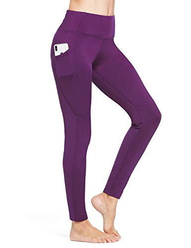BALEAF Women's Fleece Lined Leggings Winter Yoga Leggings Thermal High Waisted Pocketed Pants Purple L