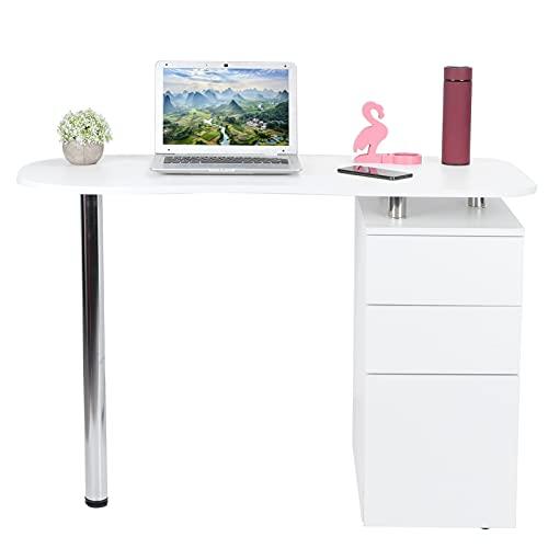 Mesa de manicura, mesa de uñas móvil con cajones y ruedas, tablero de partículas, escritorio de salón de belleza, soporte de manicura profesional, rodillos de mesa blancos para spa en casa, salón de b