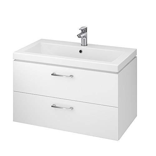 ECOLAM Badmöbel Waschtisch Waschbecken Como 80 cm + Unterschrank Lara Waschbecken mit Unterschrank 2 Schubladen weiß glänzend - Griffe aus Metall verchromt