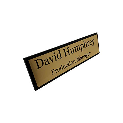 Badgemaster Gold Custom Personalised Office Home Desk Name Plaque Gold/Silver Black Acrylic Bacikng