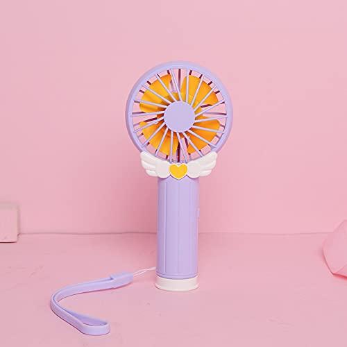 Dispositivo Portátil Pequeño Ventilador Usb Cargando Palo De Hadas Chica Corazón Dibujos Animado Mini Ventilador De Mano 37.5 cm * 30.0 cm * 45.0 cm Púrpura
