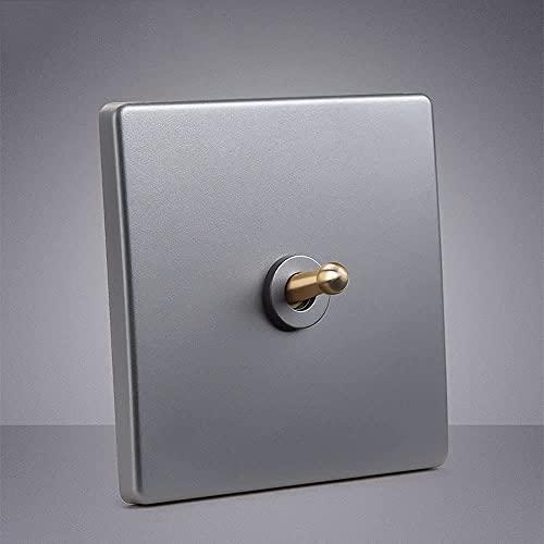 1-4 Gang 2 Way Doble Doble Lámpara de control Interruptor de la palanca retro Interruptor de pared Moderno Minimalista Minimalista Decoración de la pared Panel de interruptor de plata gris nórdico ret