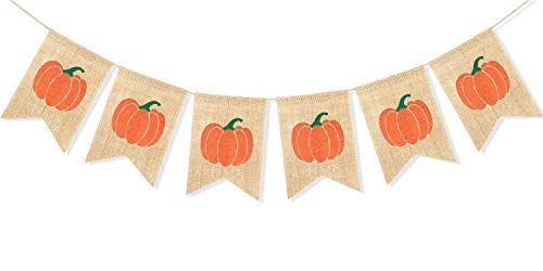 Uniwish Pumpkin Banner Happy Fall Y'All Garland Thanksgiving Day Decorations Birthday Baby Shower Home Décor Rustic Harvest Bunting