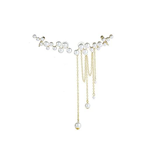 Pendientes de Clip de hueso de oreja asimétrico con borla de perlas de aguja de plata 925 Pendientes de moda de temperamento de personalidad