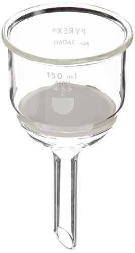 Corning Pyrex Borosilicate Glass Buchner Funnels with Fine Porosity Fritted Disc, 60mm Disc Diameter, 150ml Capacity (Case of 4)