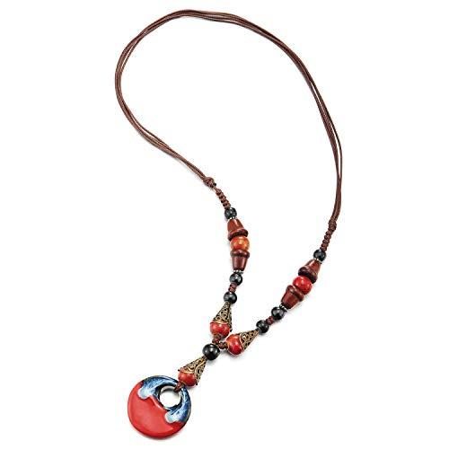 COOLSTEELANDBEYOND Boho Etnico Largo Statement Declaración Collar Madera Cuentas Negro Rojo Piedras Cadena con Colgante Oval Colgantes0