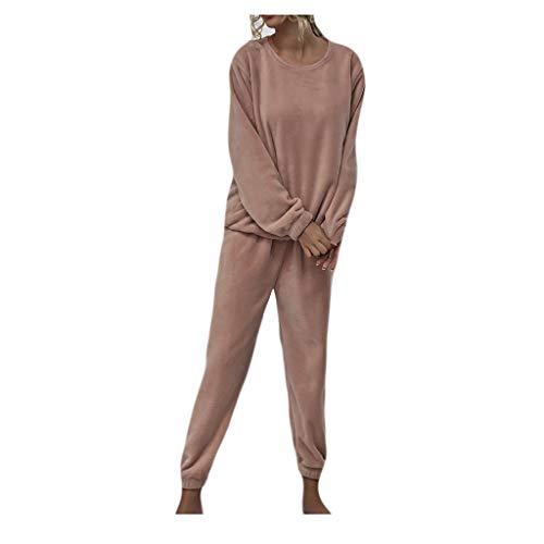 Pijamas de Franela para Mujer, Conjunto de Dos Piezas para el Hogar, Conjunto de Pantalones de Color Sólido, Traje Informal, Cuello Redondo B41 (L, Rosado)