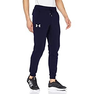 Under Armour Rival Fitted Tapered Jogger, Pantaloni Sportivi Uomo, Blu (Midnight Navy/White 410), S