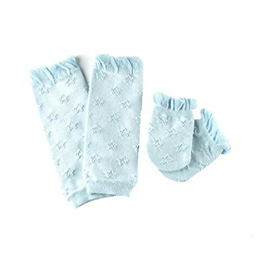 Bebé Niños Medias de tubo de rodilla + Mangas de brazo + Guantes + Calcetines Set Kit de mitones calentadores de piernas de punto de algodón suave Regalos de ducha para recién nacidos Kit de de de