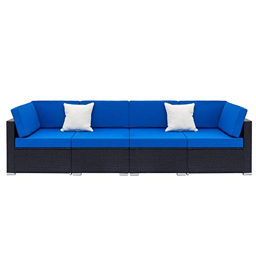 æ— Juego de muebles de patio de ratán, 4 piezas, para patio al aire libre, sofá de mimbre, juego de muebles de conversación seccionales para porche, piscina, patio trasero