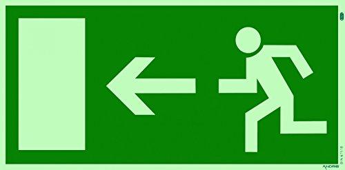 Fluchtweg Notausgang Schild Kunststoff nachleuchtend + selbstklebend DIN BGV 8A Pfeil Links Orig. Andris®