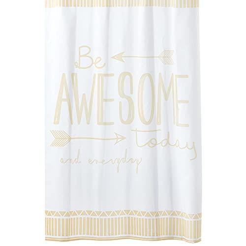mDesign Dekorativer Duschvorhang mit Zitat von Be Awesome, leicht zu pflegener Stoff, mit verstärkten Knopflöchern, für Badezimmer-Duschen, Stände & Badewannen, 182.9 x 182.9 cm, Mandelfarben