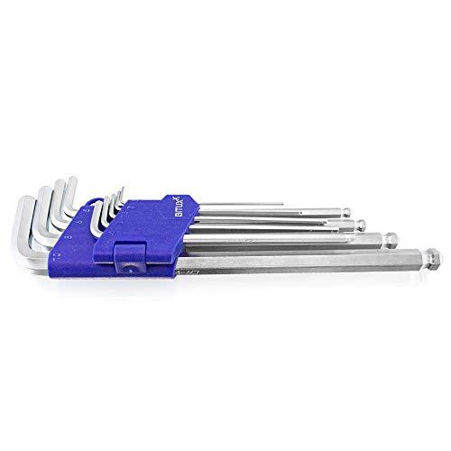 Bituxx 9-tlg Innensechskant Schlüssel Schraubedreher Satz Inneninbus 1.5-10 mm extra Lang