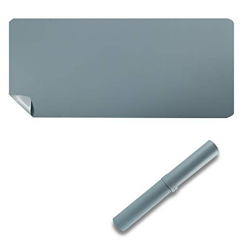 Protector de escritorio de doble cara, 80 x 40 cm, poliuretano impermeable, alfombrilla para ratón, azul claro/gris