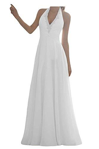 YASIOU Elegant Hochzeitskleid Damen Lang Hochzeitskleider Chiffon Brautmode Rückenfrei Weiß Vintage A Linie Brautkleid Abendkleider mit Schleppe