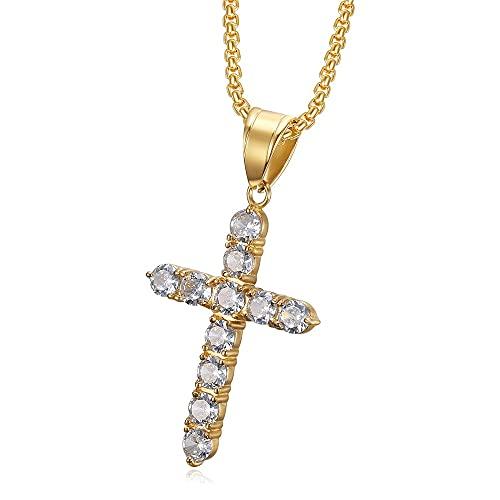 Hip Hop Cross Collar colgante para las mujeres de color oro acero inoxidable largas cadenas de gargantillas joyería cristiana