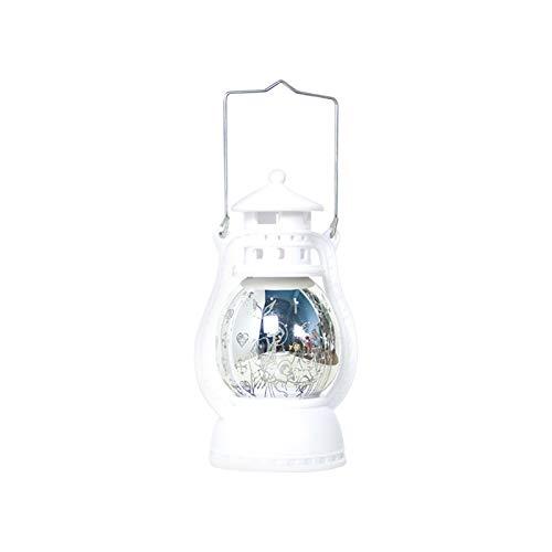 Adaskala Luz cálida Linterna de tormenta Patrón de Navidad Lámpara LED pequeña Decoración Colgante de Navidad