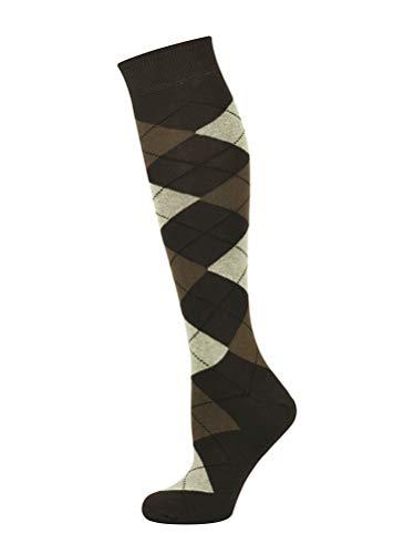 Mysocks Unisex Kniehohe Argyle Socken braun Sahne schwarze Linie