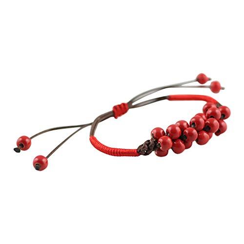 Vi.yo Armbänder für Damen Keramik Handgewebte Perlen Armreif Arm Manschette Armbinde Armband Rot