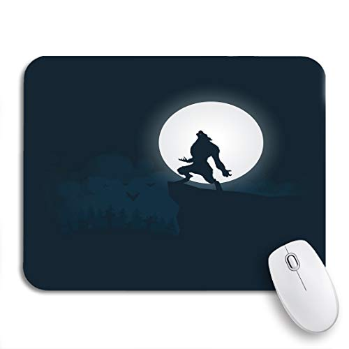 Adowyee Gaming Mouse Pad Blue Action Werewolf Silhouette Halloween Night Moonlight Animal Black 9.5'x7.9' Nonslip Rubber Backing Computer Mousepad for Notebooks Mouse Mats