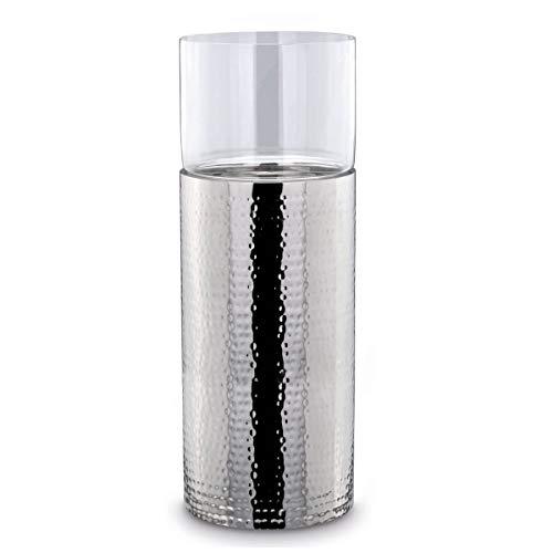 große runde Silberne XXL Glas Windlicht-Säule Edelstahl gehämmert Ø 24 cm Höhe 64 cm