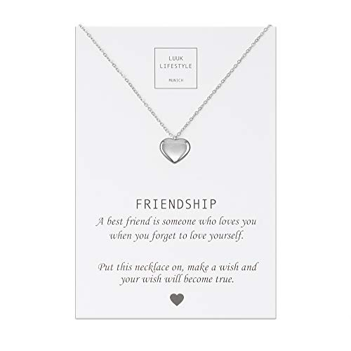 LUUK LIFESTYLE Edelstahl Halskette mit Anhänger und Friendship Spruchkarte, Glücksbringer, Freundschaftskette, Damen Schmuck - Herz Halskette - Silber