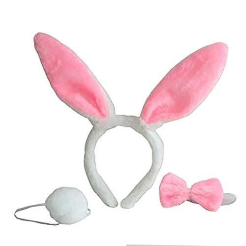 TONGDA 2Stücke Plüsch Stirnbänder für Ostern Party Hasenohren Haarreif,Hase Ohren Haarbänder Stirnband Fliege Schwanz für Erwachsene Kinder Kostüm Party Zubehör, Karneval,Motto Party.