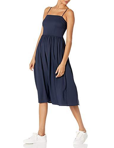 Amazon Brand - Goodthreads Women's Georgette Smock-Back Cami Midi Dress, Navy, Small