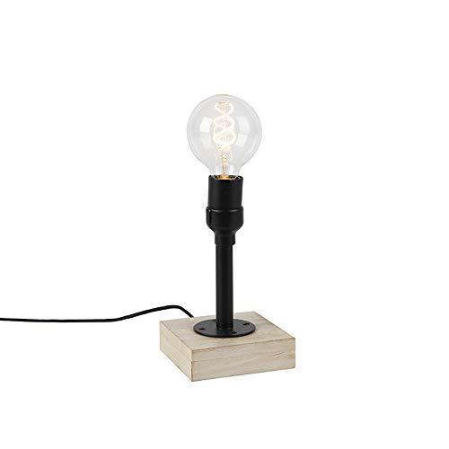 QAZQA Industrieel Industriele tafellamp zwart zonder kap 1-lichts met houten voet - Tubs Hout/Staal Cilinder/Vierkant Geschikt voor LED Max. 1 x 40 Watt