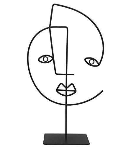 Cozymondo Moderne Dekofigur: Single-Line-Face-Art   Schwarze Deko Statue im afrikanischen Design als abstrakte Deko für Jede Wohnung   Afrikanische Deko   weibliches Gesicht
