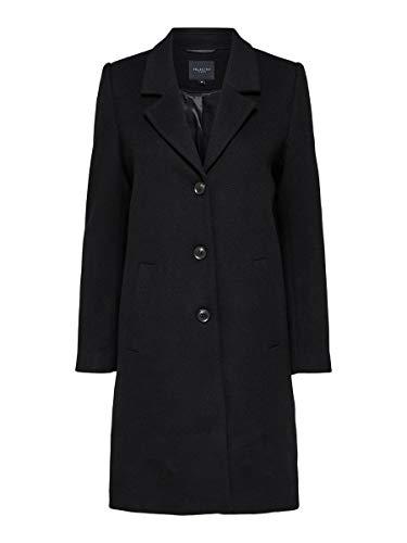 SELECTED FEMME Damen Slfsasja Wool Coat B Noos Mantel, Schwarz (Black Black), 36