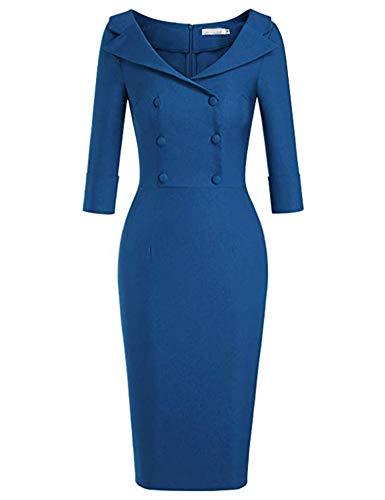 generisch JIER Damen Vintage Knopf Kleid Elegant Business Party Cocktailkleid Knielanges Abendkleid Schatz Kragen Figurbetontes Kleid 50s Retro...