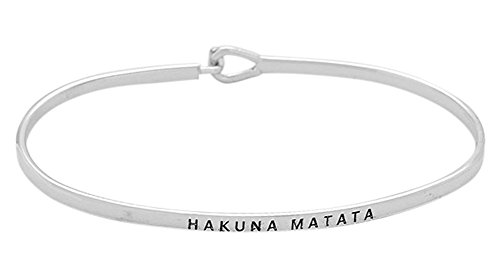 Glamour Girl Gifts Collection Hakuna Matata dünn Haken aus Messing Armreif Gravur silberfarben Armband für Best Friends, BFF Besties
