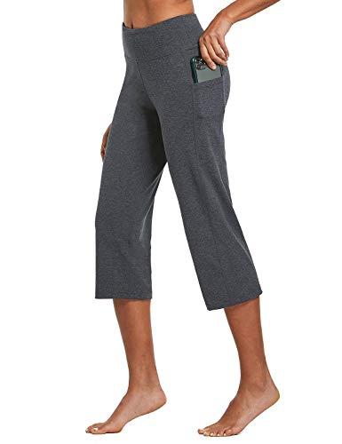 BALEAF Yogahose für Damen, Caprihose, hohe Taille, Leggings mit Taschen, weites Bein, Training, gerade, offene Unterseite, Grau, Klein